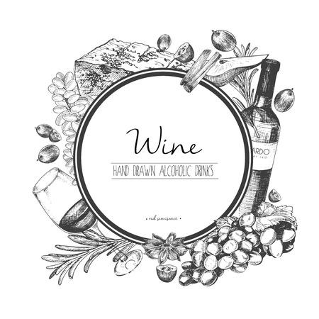 ベクトルは手ワインと apetizers の描き下ろしイラストです。ラウンド枠構成。ブドウ、チーズ、ローズマリー、スパイス、ボッテ ・ ワイングラス。