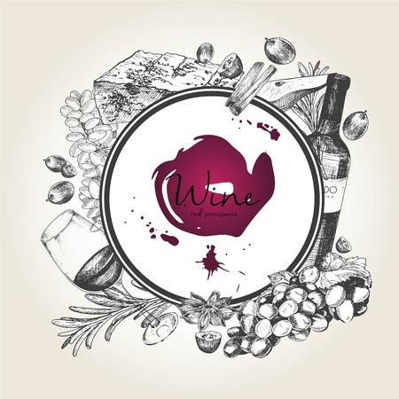 wineglass: Vector hand drawn illustration of wine and apetizers. Round border composition. Grape, cheeze, rosemary, spices, botte and wineglass. For restaurant menu, invitation, greeting, holiday store design
