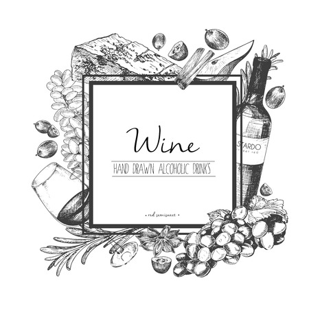 Vector hand drawn illustration of wine and apetizers. Square border composition. Grape, cheeze, rosemary, spices, botte and wineglass. For restaurant menu, invitation, greeting, holiday store design