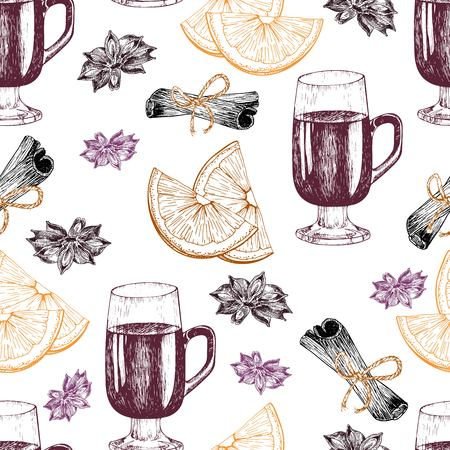anise: Vector seamless pattern of mulled wine ingredients. Hand drawn vintage elements. Glass, orange, cinnamon, anise. Good for season restaurant, menu, design, store holiday package