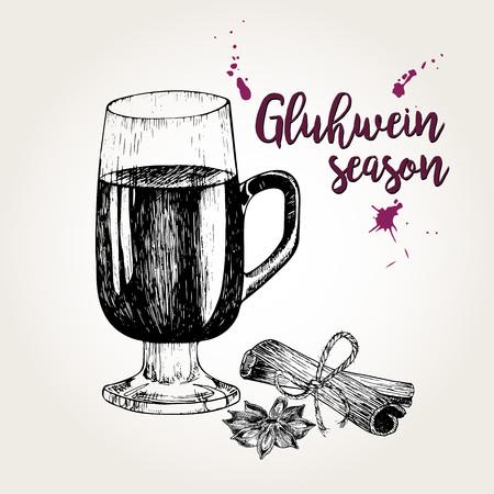 Vector set of mulled wine. Glass, cinnamon sticks, anise. Vintage engraved style. Gluhwein season. Use for season restaurant, menu, design store holiday