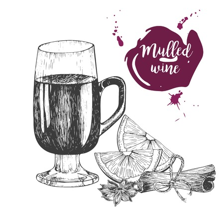 anise: Vector set of mulled wine. Glass, cinnamon sticks, anise. Vintage engraved style. Decorated with blots. Use for season restaurant, menu, design, store holiday