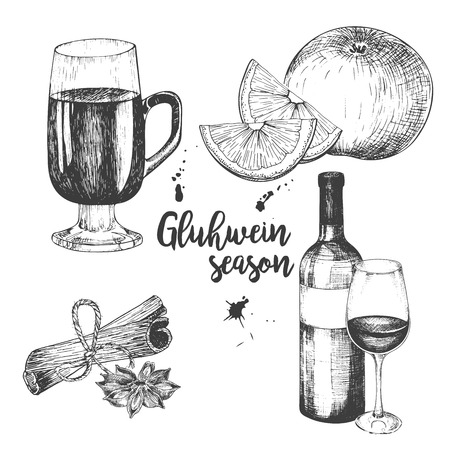 anise: Vector set of mulled wine. Bottle, glass, orange, apple, cinnamon sticks, anise. Vintage engraved style. Decorated with blots. Use for season restaurant, menu design store holiday