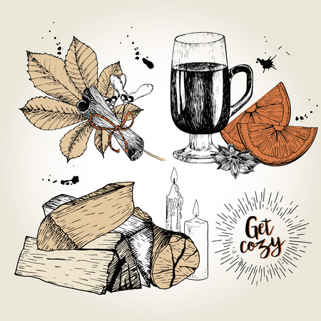 Vector set of cozy home essentials. Mulled wine, anise, orange, cinnamon, chestnut leaf, firewoods, candles. Hand drawn vintage style. Use for holiday domestic sale.