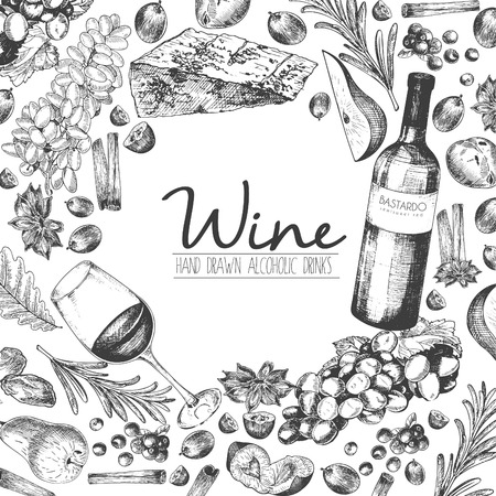 Vector hand drawn illustration of wine and apetizers. Round border composition. Grape, cheeze, rosemary, spices, botte and wineglass. For restaurant menu, invitation, greeting, holiday store design Banco de Imagens - 63834630