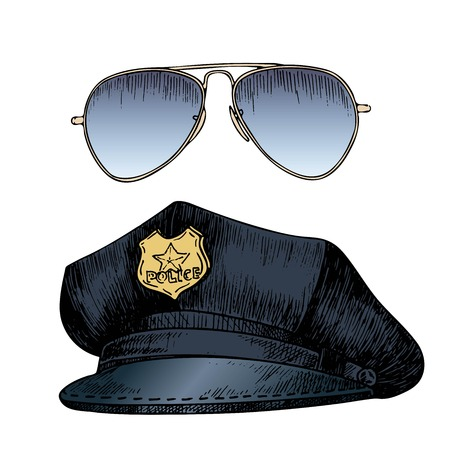 Vector set of policeman uniform. Cap hat and aviators sunglasses. Hand drawn engraved style. Professional equipment and clothing colored vintage image. Isolated on white background. Illustration