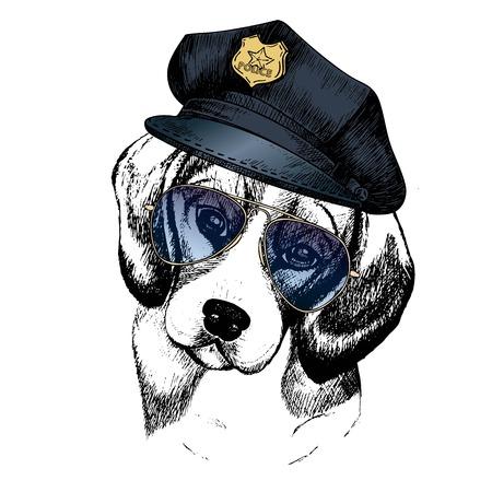 Vector close up portrait of police dog. Beagle wearing the peak cap and sunglasses. Hand drawn domestic pet dog illustration. Isolated on white background. Ilustração