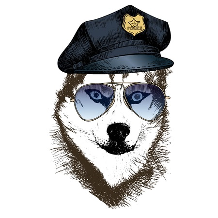 Vector close up portrait of police dog. Siberian husky wearing the peak cap and sunglasses. Hand drawn domestic pet dog illustration. Isolated on white background.