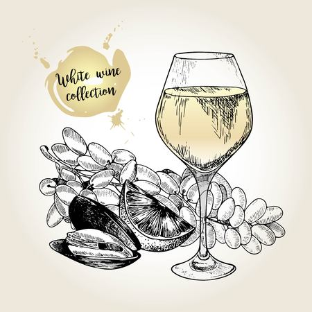 wine and food: Vector set of white wine collection. Engraved vintage style. Glass, mussel, lime and sultana grape. Isolated on grunge background. . Use for restaurant, cafe, store, food, menu design