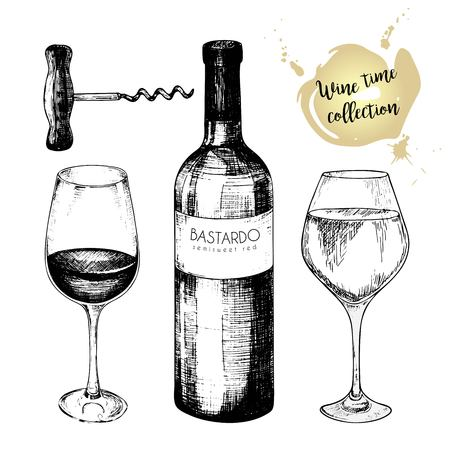 Vector set of wine collection. Engraved vintage style. Glasses, bottle and corkscrew. Isolated on white background. Use for restaurant, cafe, store, food, menu design Vettoriali