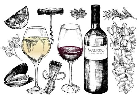 Vector hand drawn set of wine and apetizers. Grape, bottle, wineglass, rosemary, corckscrew, lime, mussel, paresley, cinnamon, anise For restaurant menu invitation greeting holiday store design