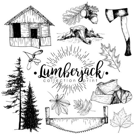 vectro: Vectro set of timber print collection. Cozy cabin, stamp, axe, pine trees, firewoods, saw, leaves and acorns. Hand drawn vintage style. Trendy hipster lumberjack illustration.