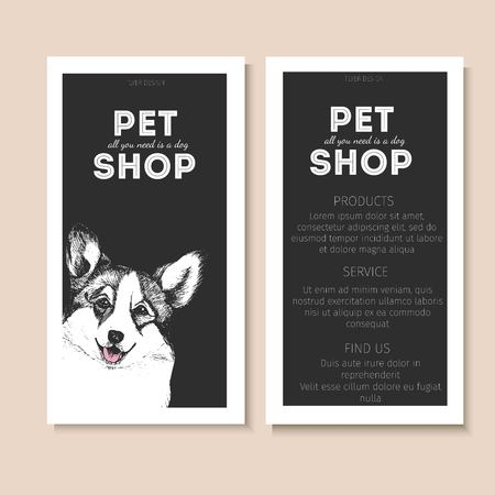 pet store advertising: Vector set of pet shop flyers. Dog portrait isolated on black square text template. Black informational list. Use for pet clinic, store, food market, veterinary pharmacy, advertising, sale, discount Illustration