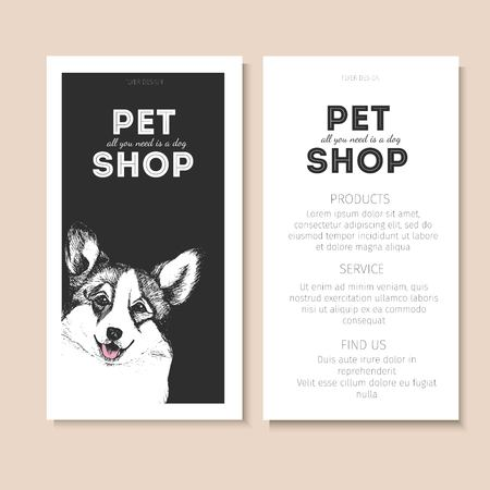 pembroke welsh corgi: Vector set of pet shop flyers. Dog portrait isolated on black square text template. White informational list. Use for pet clinic, store, food market, veterinary pharmacy, advertising, sale, discount