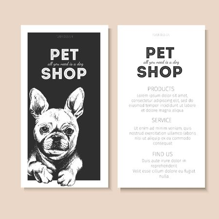 pet store advertising: Vector set of pet shop flyers. Dog portrait isolated on black square text template. White informational list. Use for pet clinic, store, food market, veterinary pharmacy, advertising, sale, discount