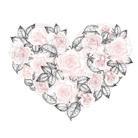 engaging: Vector heart of roses. Hand drawn vintage engraved style flowers. Pastel rose color. Use for wedding, birthday, valentine, engaging greeting card or for store design, sale, discount, maarket. Illustration