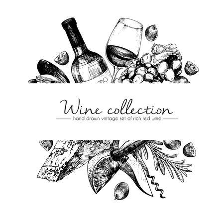 vector dibujado a mano ilustración Plantilla de vino y aperitivos. Botellas, vidrio, corcksrew, queso, frutas ans cpices. arte del estilo de grabado de la vendimia. Para el restaurante, menú, tienda, mercado, la venta.