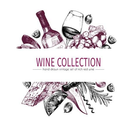 Wektorowa ręka rysujący koloru szablonu ilustracja wino i zakąski. Butelka, szkło, corcksrew, ser, owoce i cpices. Sztuka w stylu vintage grawerowane. Do restauracji, menu, sklepu, targu, sprzedaży. Ilustracje wektorowe