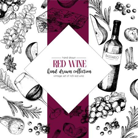 ベクターの手には、ワインと前菜のシェブロン テンプレート イラストが描かれました。ボトル、グラス、corcksrew、チーズ、果物 ans cpices。刻まれた