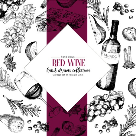 Vector hand drawn chevron template illustration of wine and appetizers. Bottle, glass, corcksrew, cheese, fruits ans cpices. Vintage engraved style art. For restaurant, menu, shop, market, sale.