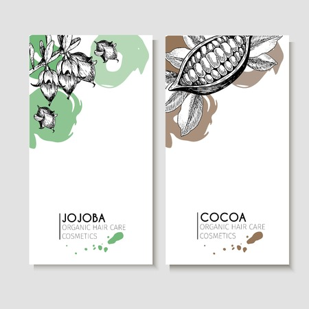 Vector set of hair care ingredients. Organic hand drawn elements. Flyers with jojoba and cocoa. Use for cosmetic package, shop, store, products, identity, branding, skin, hair care Vettoriali