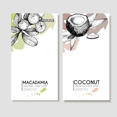 毛髪ケア成分のベクトルを設定します。有機手描きの要素。マカデミア ナッツとココナッツのチラシ。化粧品のパッケージ、ショップ、ストア、製  イラスト・ベクター素材
