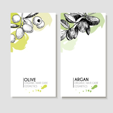 Vector set of hair care ingredients. Organic hand drawn elements. Flyers with olive and argan. Use for cosmetic package, shop, store, products, identity, branding, skin, hair care