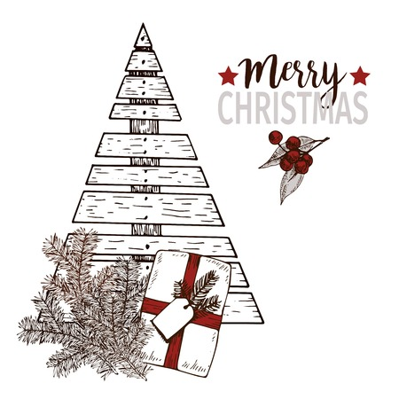 plywood: Vector greeting card for Christmas. Plywood christmas tree, pine tree brancges and gift package. Vintage hand drawn art. Use for seasonal greeting, party decor, holiday advertisement.