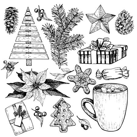 plywood: Vector set of Christmas objects. Hand drawn vintage style. Xmas Icons. Plywood tree, pine tree branch, fir, pinecone, poinsettia, cocoa cup, murshmallow, bow, coockies, holly, candy, star.