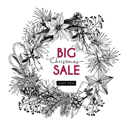 advertisment: Vector banner for Christmas sale. Hand drawn vintage elements in round border composition. Xmas shoppoing offer. Use for promotion, branding, advertisment, shopping, market, store, fashion, holiday celebration.