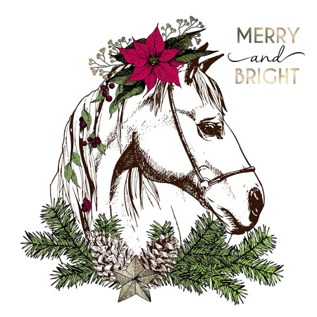 Vector portrait of boho Christmas horse. Decorated with winter floral wreath and fir branch, pinecone and star. Hand drawn vintage engraved style. Christmas decoration, greeting card, gift and party