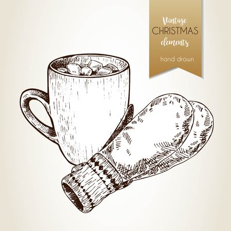 christmas pudding: Vector hand drawn illustartion of cocoa cup,and gloves. Vintage engraved style.  Christmas decoration.  Use for seasonal greeting, party decor, holiday advertisement.