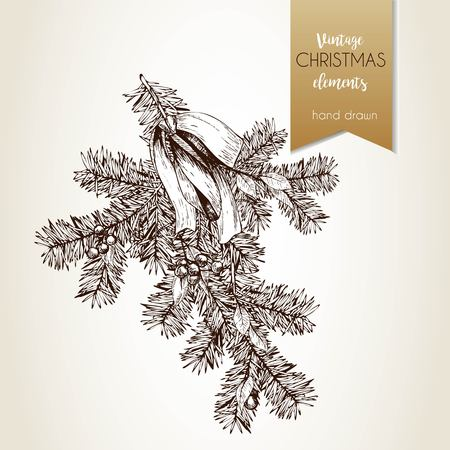 Vector hand drawn illustration of pine tree branch decorated with bow and holly berries. Vintage engraved style art.Christmas decoration. Use for seasonal greeting, party decor, holiday advertisement. Vettoriali