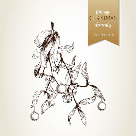 buss: Vector hand drawn illustration of mistletoe branches bounded with bow. Christmas engraved decoration. Vintage hand drawn art. Use for seasonal greeting, party decor, holiday advertisement. Illustration