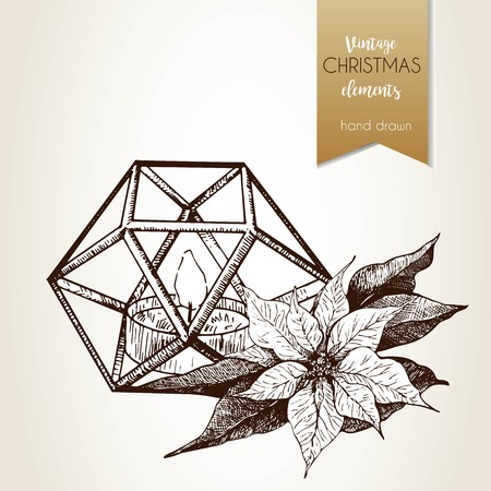 polyhedral: Vector hand drawn illustartion of poinsettia and geometric lantern. Vintage engraved style.  Christmas decoration.  Use for seasonal greeting, party decor, holiday advertisement.