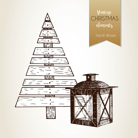 Vector hand drawn illustartion of plywood fir tree and lantern. Vintage engraved style.  Christmas decoration.  Use for seasonal greeting, party decor, holiday advertisement. Illustration