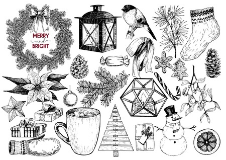 plywood: Vector set of Christmas hand drawn icons. Xmas engraved objects. Fir branch wreath, lantern, poinsettia, mistletoe, gingerbread cookies, cones, snowman, coca cup, candy, gloves gift boxes ball