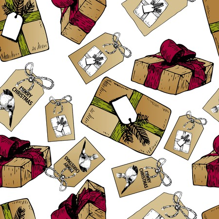 art and craft: Vector seamless pattern of gift boxes and badges for Christmas. Hand drawn vintage art. Craft paper diy presents. Use for wrapping Xmas gifts, textile, holiday, party, branding.
