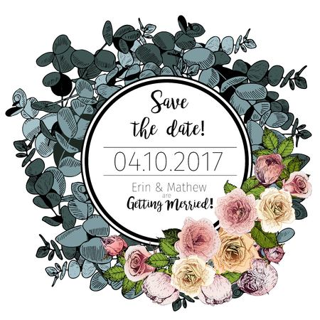 Vector wedding invitation template. Save the date card. Vintage hand drawn style art. Eucalyptus wreath with English roses. Round border composition. Use for wedding ceremony design.