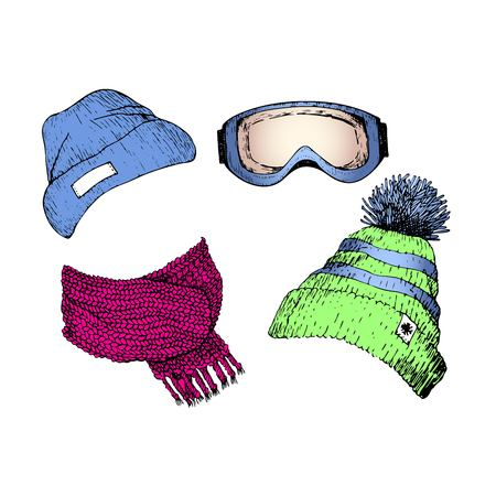 beanies: Vecor set of hand drawn ski clothing icons. Knitted scarf, beanies, goggle mask. Engraved colored illustration. Use for winter sport design promotion, store, ski resort advertisement.