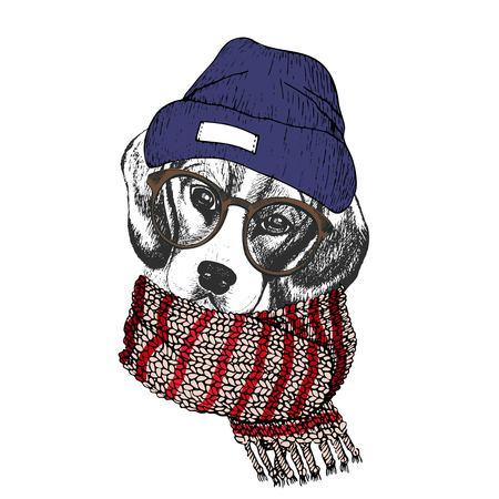 Vector hand drawn portrait of cozy winter dog. Beagle wearing knitted scarf, beanine andhipster glasses. Winter cozy seasonal print. Sketched poster. Use for flyer, poster, clothing prints.