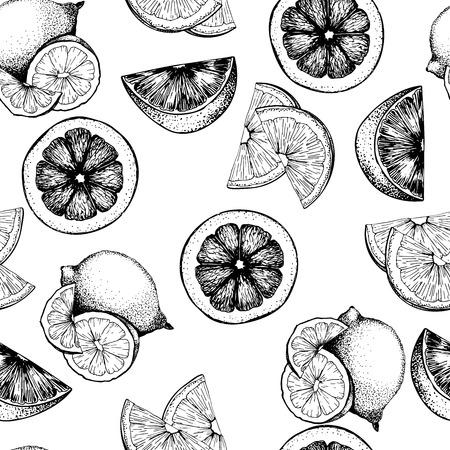 柑橘系の果物のシームレスなパターンをベクトルします。オレンジ、レモン、ライム、ブラッディ オレンジ スライス。白い背景上に分離。手描きア