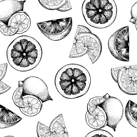 VEctor seamless pattern of citrus fruits. Orange, lemon, lime and bloody orange slices. Isolated on white background. Hand drawn icons. Use for restaurant, menu, detox program, coctails, smoothie. Ilustração