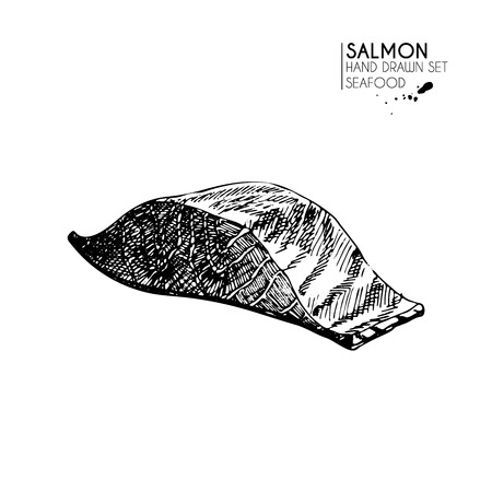 salmon fillet: Vector hand drawn set of seafood icons. Isolated salmon fillet. Engraved art. Delicious marine food menu sketched objects. Use for resaurant, meal, market, store, menu, party decoration, other design Illustration