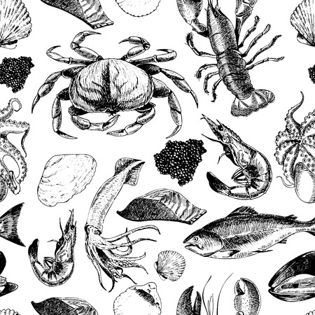 VEctor seamless pattern of seafood.Lobster, crab, salmon, caviar, squid, shrimp and clams. Hand drawn engraved icons. Delicious food menu objects. Use for resaurant, promotion, market store banner