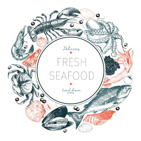 Vector hand drawn seafood logo. Lobster, salmon, crab, shrimp, ocotpus, squid, clams.Engraved art in round border composition. Delicious menu objects. Use for resaurant, promotion market store banner
