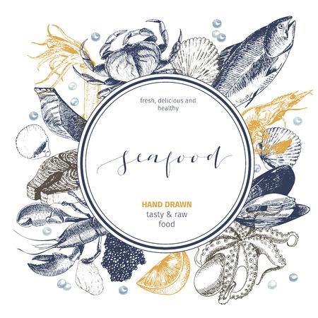 벡터 손 해산물 로고를 그려. 라운드 국경 조성 랍스터, 연어, 게, 새우, ocotpus, 오징어, clams.Engraved 예술. 맛있는 메뉴 객체. resaurant, 승진 시장 저장소