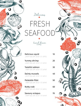 Vector menu for seafood restaurant. Template design for marine food bar and cafe. Hand drawn. Lobster, octopus, crab, salmov, shrimp, squid, clams. Use for branding, poster banner flyer