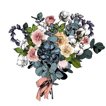 Vector flower arrangement. Wedding bouquet. English roses, eucalyptus, cotton and succulents. Hand drawn botanical art. Engraved vintage style. greeting card, invitstion, fashion business market Illustration