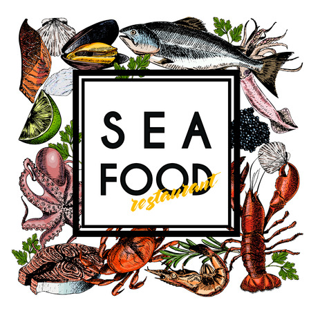 Vector hand drawn seafood banner.colored Lobster, salmon, crab, shrimp, ocotpus, squid, clams.Engraved art in square border composition.Delicious menu objects. restaurant, promotion market store flyer